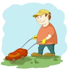 Lawn mower man vector