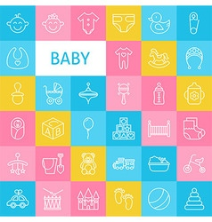 Line Art Baby and Newborn Toys Icons Set vector