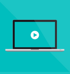 Macbook pro flat laptop and a video vector