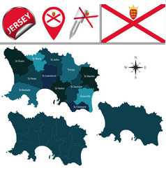 Map jersey with parishes vector