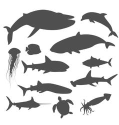 Marine fauna set aquatic animals vector