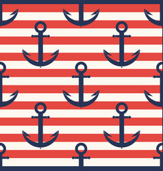 marine pattern anchor navy seamless pattern vector image