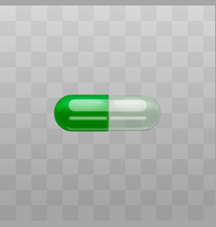 medical drug capsule with transparent part vector image