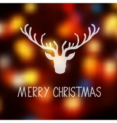 Merry Christmas card template with a deer vector image