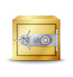 Metal safe realistic gold deposit box for vector
