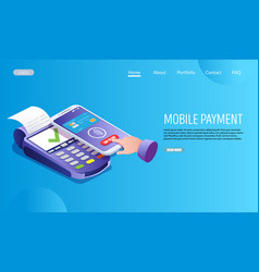 mobile payment website landing page design vector image