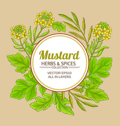 Mustard plant frame on color background vector