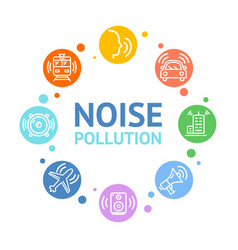 Noise pollution concept card round design vector