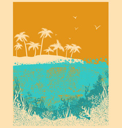 Ocean waves and tropical island in summer hot day vector