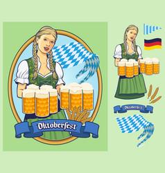 Oktoberfest design lady in dirndl serving big vector