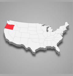 Oregon state location within united states 3d map vector