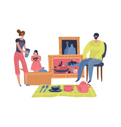 people selling second hand retro goods family vector image