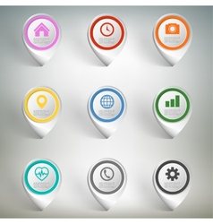 Pointer marks set Colorful icon templates on gray vector image