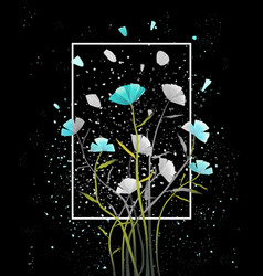 Postcard abstract flowers on black vector