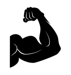 Power lifting symbol muscle arm black vector