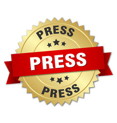 Press round isolated gold badge vector
