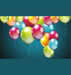 realistic colorful birthday balloons flying for vector image vector image