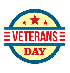 Round veterans day logo flat style vector