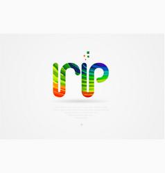 Rp r p rainbow colored alphabet letter logo vector