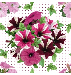 Seamless pattern bouquet of petunias vector