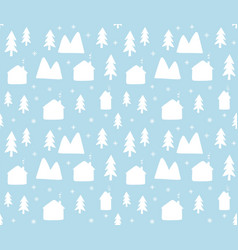 Seamless pattern house and trees vector