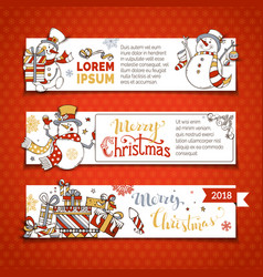 set of horizontal christmas banners with cute vector image