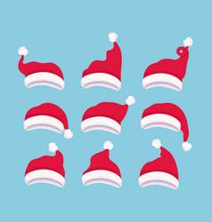 set of santa claus hats vector image