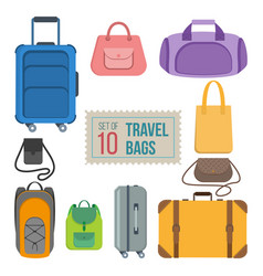 Set of travel bags vector