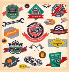 Set retro vintage car labels vector