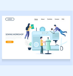 sewing workshop website landing page design vector image