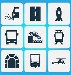shipment icons set with loose chipping monorail vector image