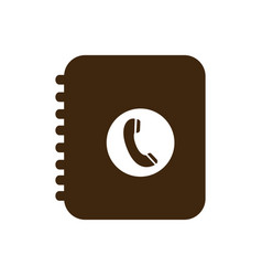 Silhouette phone book icon flat vector