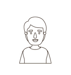 Sketch contour half body young man with hairstyle vector