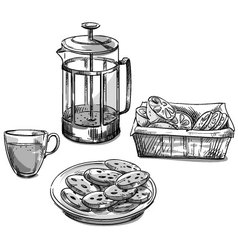 Tea and cookies vector image