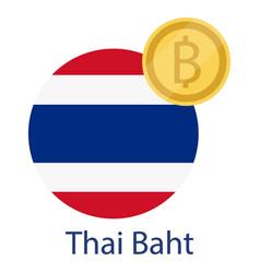 Thailand flag and thai baht golden coin baht vector