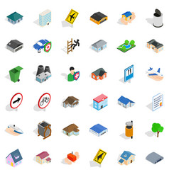 town icons set isometric style vector image