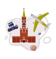 Travel and tourism attribute with kremlin tower as vector
