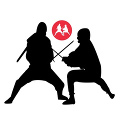 two ninjas in sparring vector image