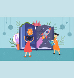 two young children reading a space fantasy book vector image