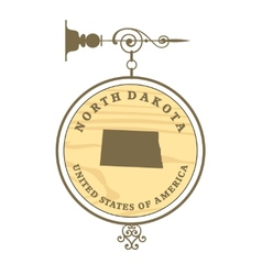 Vintage label North Dakota vector