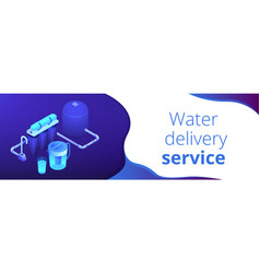 Water filtering system isometric 3d banner header vector