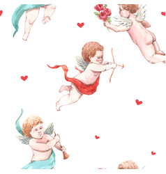 watercolor angel putti pattern vector image