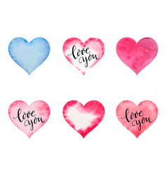 watercolor hearts for st valentine s day vector image