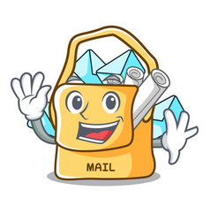 Waving the bag with shape mail cartoon vector