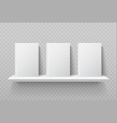 White books on bookshelf empty school textbooks vector