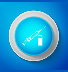 White medical syringe with needle and vial icon vector