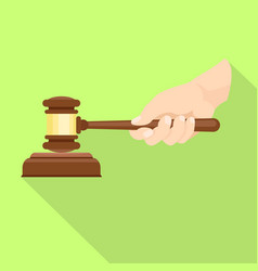 wood gavel in hand icon flat style vector image