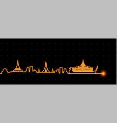 Yangon light streak skyline vector