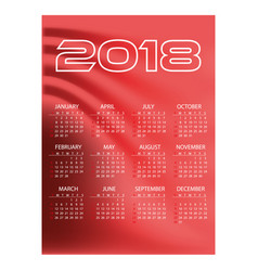 2018 simple business wall calendar red color vector image vector image