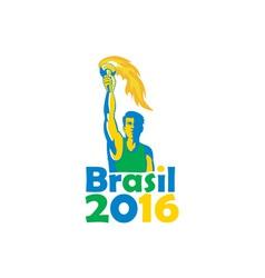 Brasil 2016 Summer Games Athlete Torch vector image vector image